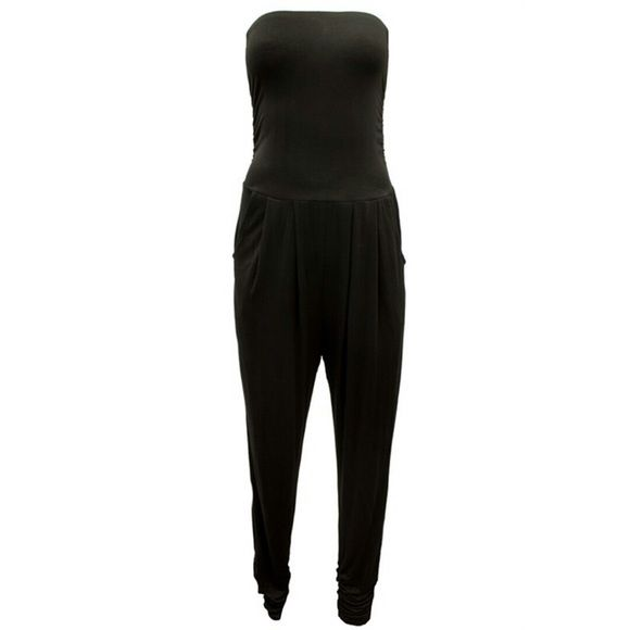 """1HR SaleBlack Tube Top Jumpsuit #398-BS Black tube top jumpsuit with pockets. 95% Rayon 5% Spandex. Made in China. Bust measured laying flat is 26"""" and it is elastic so it will stretch out 4"""" more. Pants Jumpsuits & Rompers"""