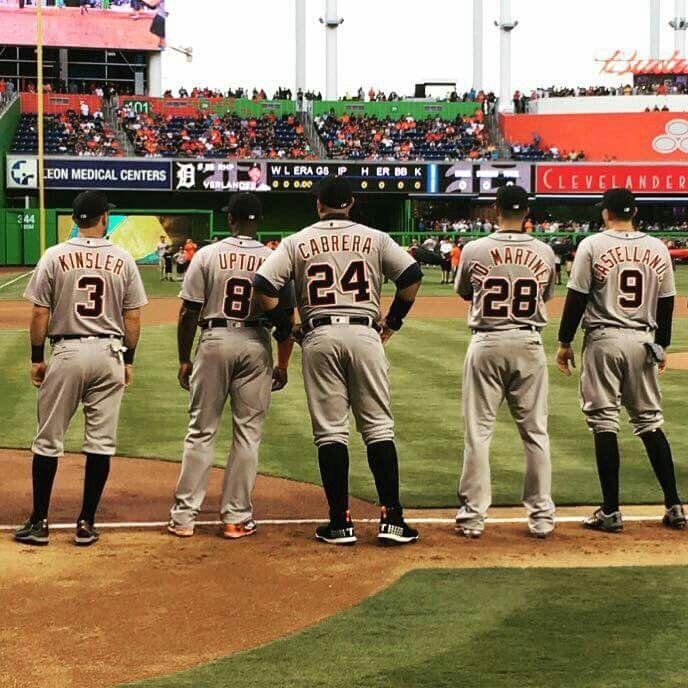 Ian Kinsler, Justin Upton, Miguel Cabrera, JD Martinez, and Nick Castellanos; Tigers Opening Day 2016 @ Miami