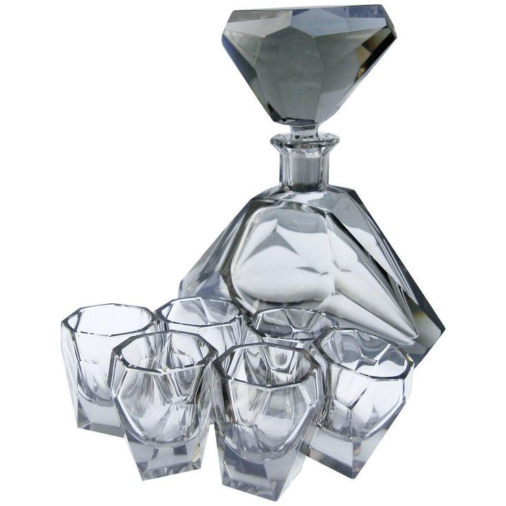 Smoked Glass Decanter Set