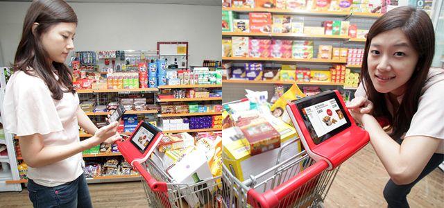 Købmand kuponer, der leveres i realtid via indkøbskurv tabletter      SK Telecom afprøver en smart indkøbskurv service i Kina, der synkroniserer med forbrugernes smartphones at tilbyde position-relevant information i real-tid.