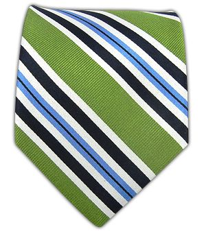 Racing Stripe - Clover - green, navy and light blue striped tie