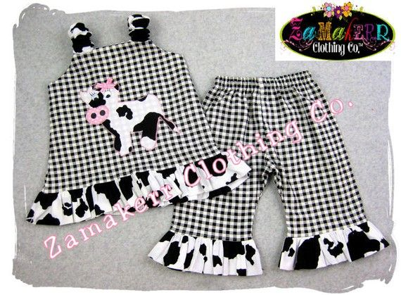 Girl Farm Birthday Custom Boutique Clothing Cow Jumper Aline Top Ruffle Pant Outfit Set 3 6 9 12 18 24 month size 2T 2 3T 3 4T 4 5T 5 6 7 8