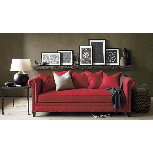 Wall color with red couch. I think I really like the dark gray walls, and black and white accents...!? @Courtney Baker Baker Valentine