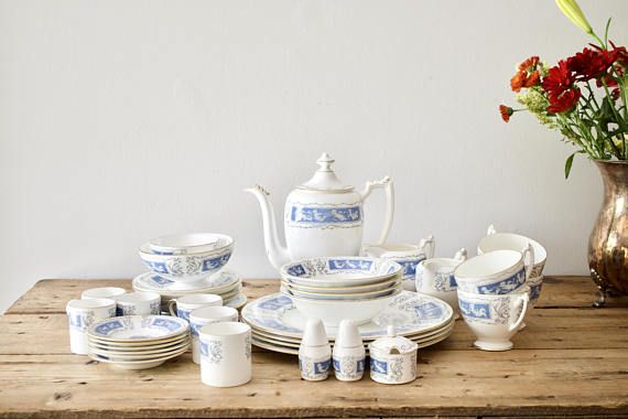 CoalPort Revelry Dinnerware Set 40 pc Blue and White Bone China Dinner Set Wedding China Gift for Her by VintageFlicker