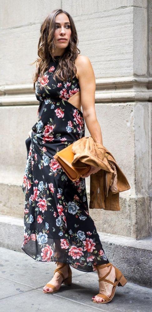 24f55aa3 Ich Zara schwarz lang bedruckt Floral Maxi Boho Kleid Open Back - 38 M/UK  10 #kleider #mode #trend #frau #dame #geschenkideen