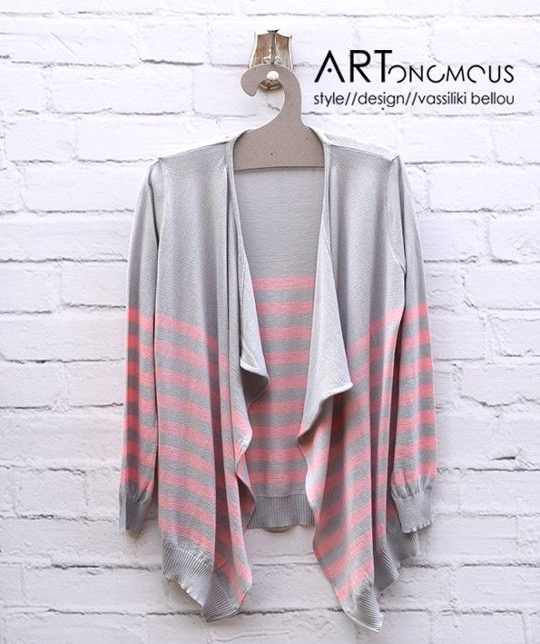 Grey and pink striped cardigan