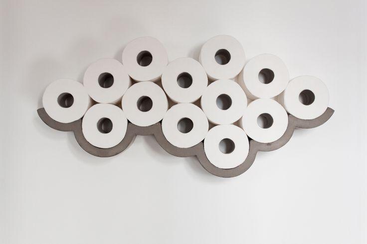 Cloud toiletrullehylde fra Lyon Beton. Få plads tilovers i skabet og kunst på vægen med en Cloud.  Pris 1.099 kr.  Køb den direkte hos Kibo Living http://www.kiboliving.com/buy