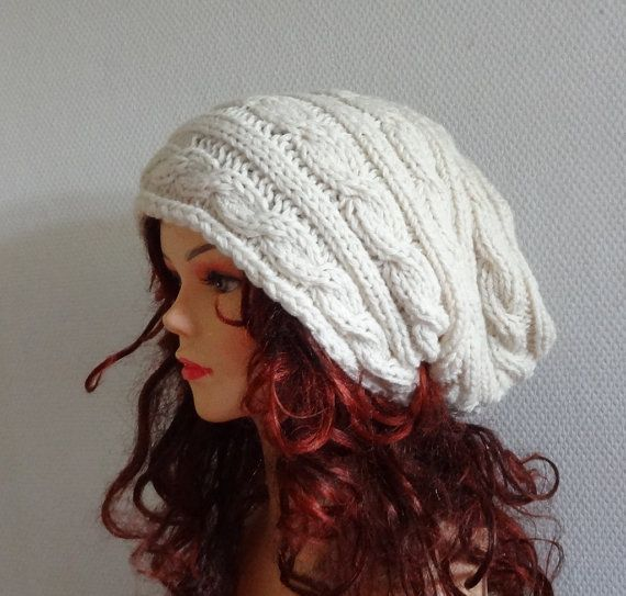 Hand Knit Hat  Slouchy Hat Unisex  Beanie Knit Cable hat by Ifonka
