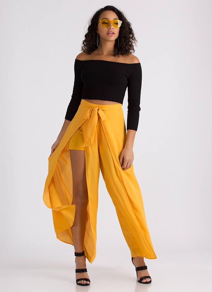 c88f0453d092eb Split Second Tied Palazzo Pants MUSTARD | All Gold Everything in ...