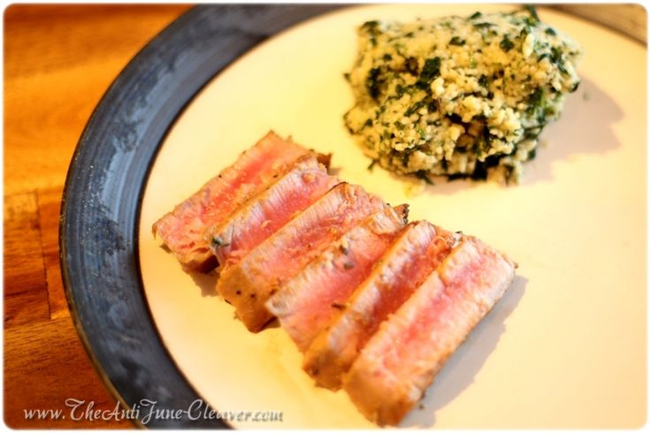 Asian Tuna Steaks and Spinach Parmesan Couscous #Recipe Made With Daregal Fresh Frozen Herbs | The Anti June Cleaver
