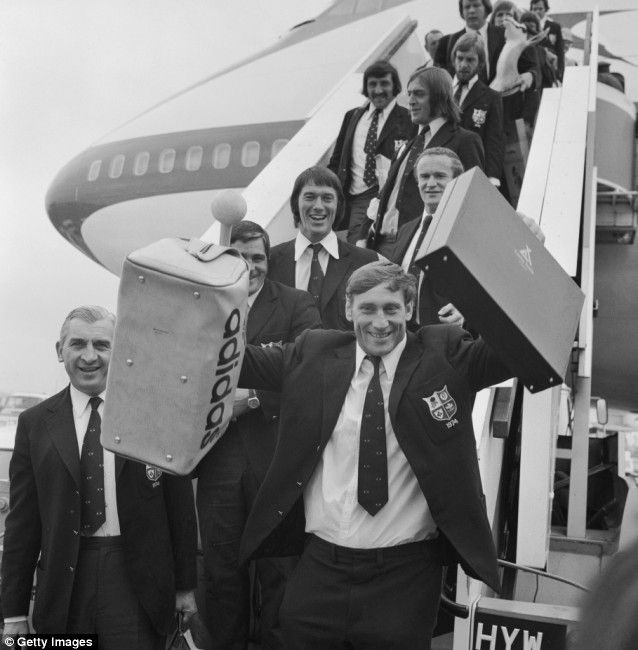 The 1974 tour of South Africa has gone down in rugby folklore, not only for the success of the travelling team - they won 21 of the 22 matches, and beat the Springboks 3-0 in a four-match Test series - but also for the uncompromising, often violent nature, of the matches. Here is a delighted captain Willie John McBride leading the victorious Lions off the plane at Heathrow following the tour