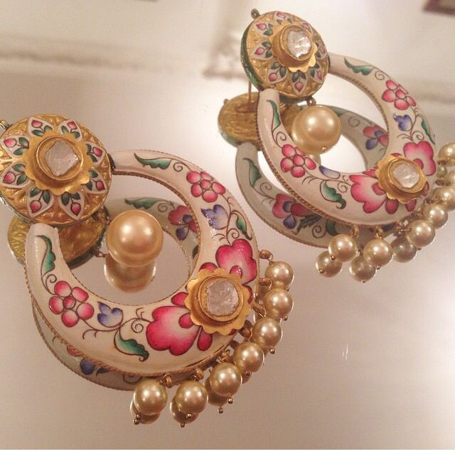 Enameled pearl earrings