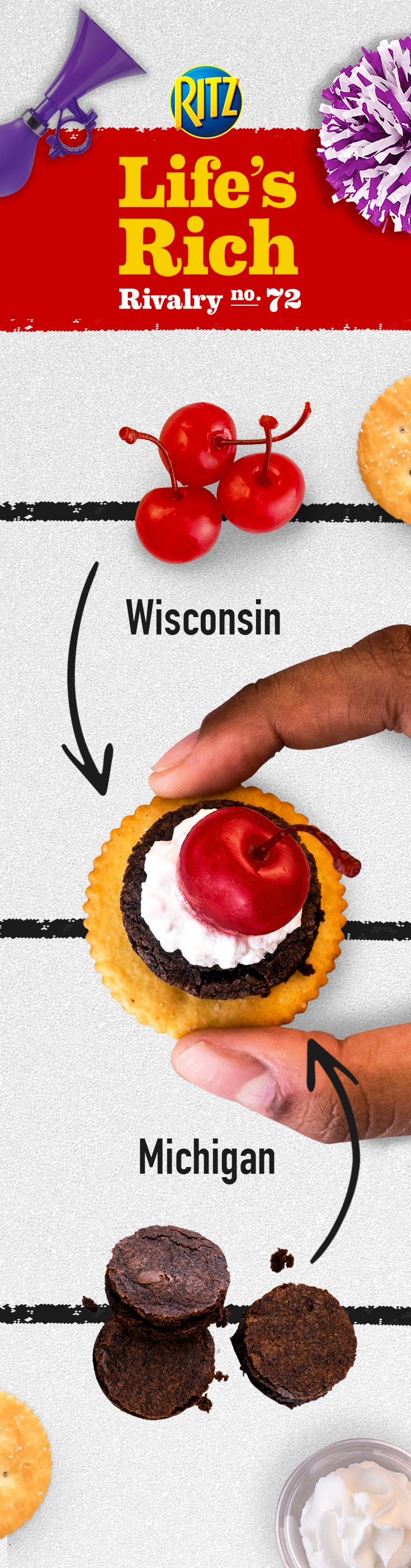 Homegating should never be bitter! When midwest fans are on opposite sides of the living room during the game, have them meet in the middle with Michigan-style brownies and Wisconsin lovers' cherries in Sweet & Salty Brownie Toppers. Follow this easy recipe: 1. Cut brownies into Cracker-sized pieces 2. Top w/ whipped cream & a cherry 3. Enjoy!