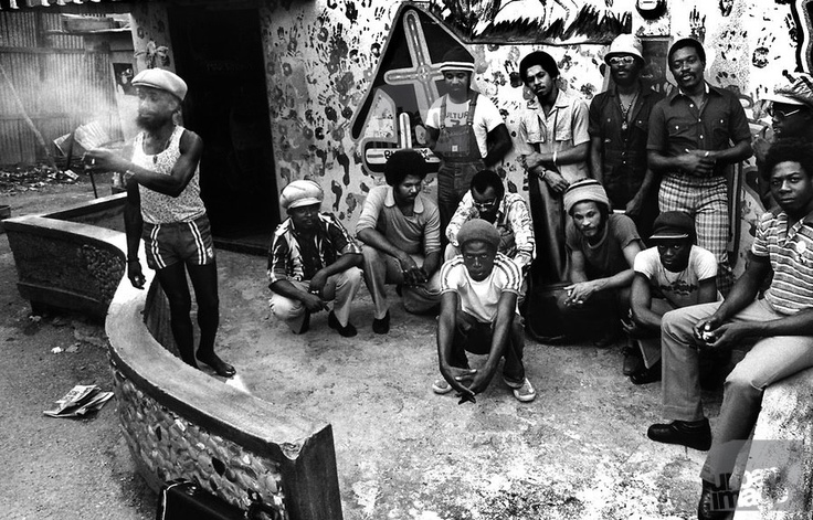 Lee 'Scratch' Perry in '76 with Junior Marvin, The Congos and the Upsetters in the backyard of the Black Ark...