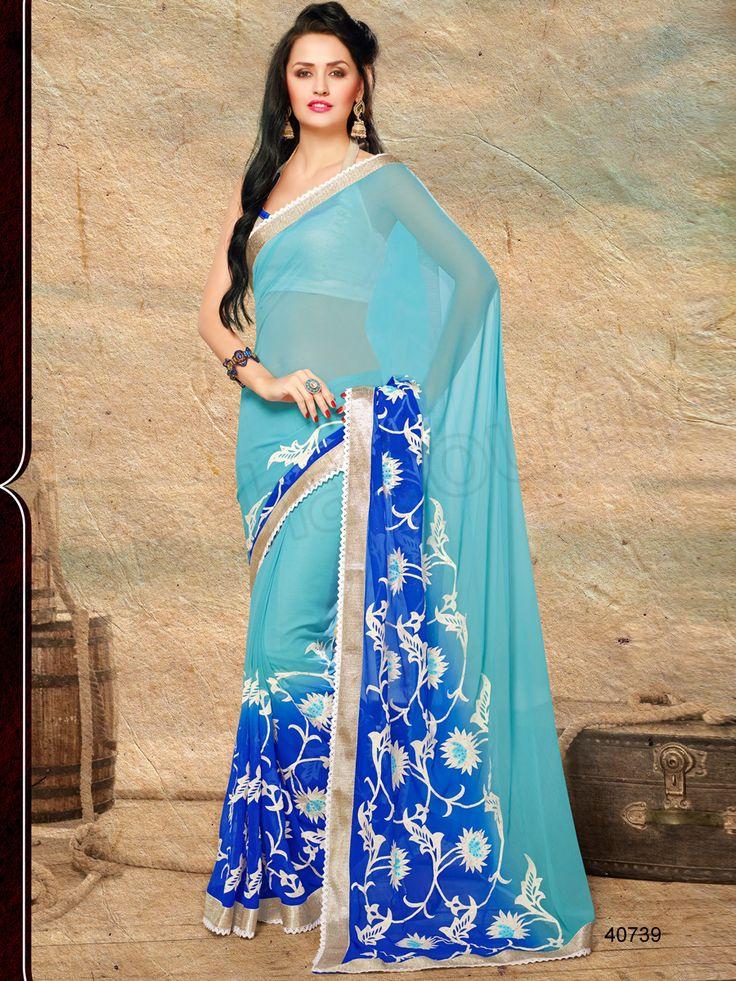 #Designer Sarees# Blue #Indian Wear #Desi Fashion#Natasha Couture#Indian Ethnic Wear