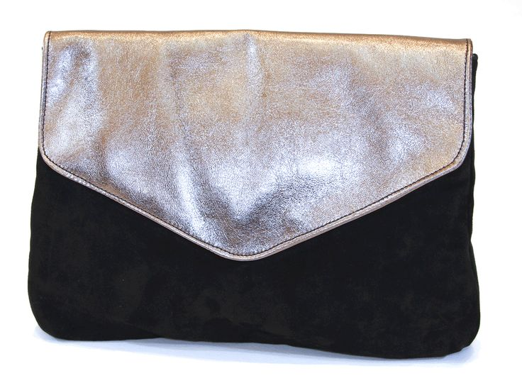 Fold over design With magnetic closure Inside pocket with zip closure Bronze foldover with black suede by CANDYBAG #bags