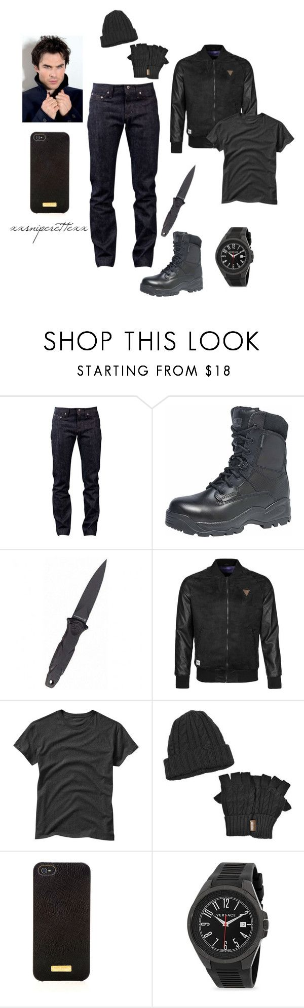 """""""Jake - January 29"""" by xxsniperettexx ❤ liked on Polyvore featuring Naked & Famous, Rocawear, Gap, Muk Luks, Henri Bendel, Versace, men's fashion and menswear"""