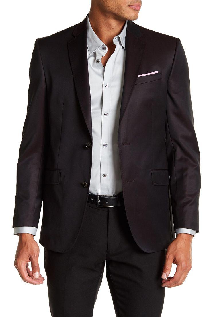 Jones Brown Solid Trim Fit Wool Sport Coat