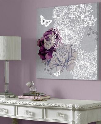 41-190 Monsoon Monsoon - purple and silver flowers and butterflies canvas art Pink,Purple,Lilac,White,Grey Floral Canvas