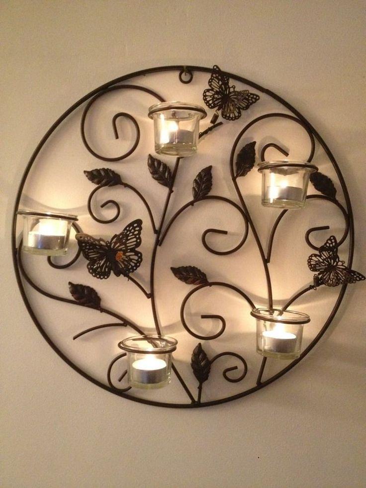 6 piece butterfly metal wall art sconce tea light candle holder