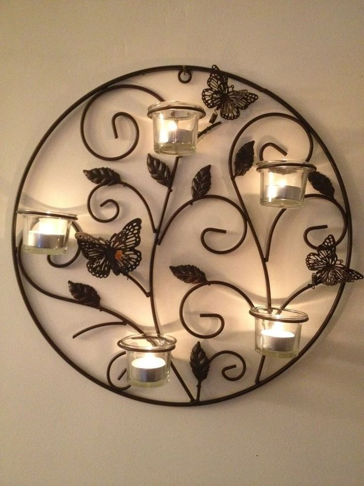 6 piece butterfly metal wall art sconce tea light candle holder Metals, Art and Tea lights