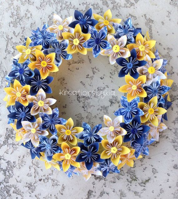 Happiness //Origami/Kusudama Paper Flower Wreath by kreationsbykia