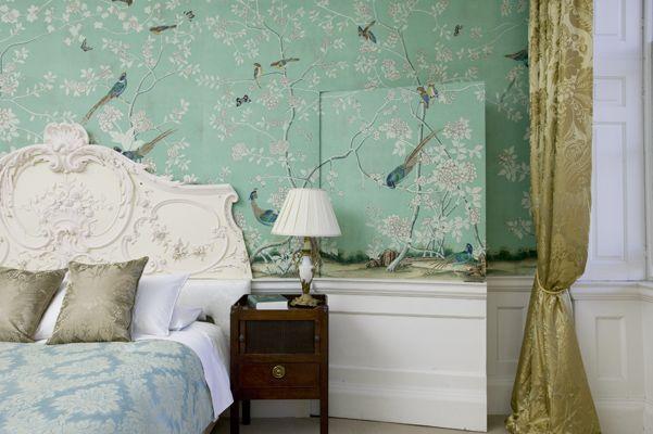 Earlham design on Sung Blue Williamsburg & Honey silk Damask