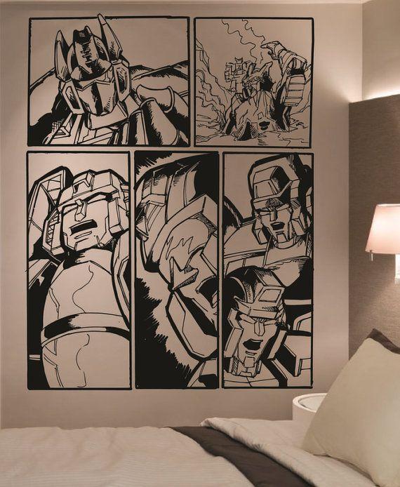 Giant Transformers Retro Comic Vinyl Wall Art Sticker Home Decor Living Room Bedroom