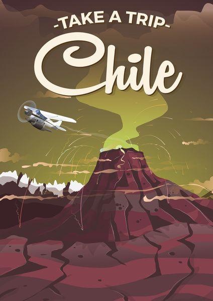 Chile Cartoon volcano cartoon travel poster Art Print