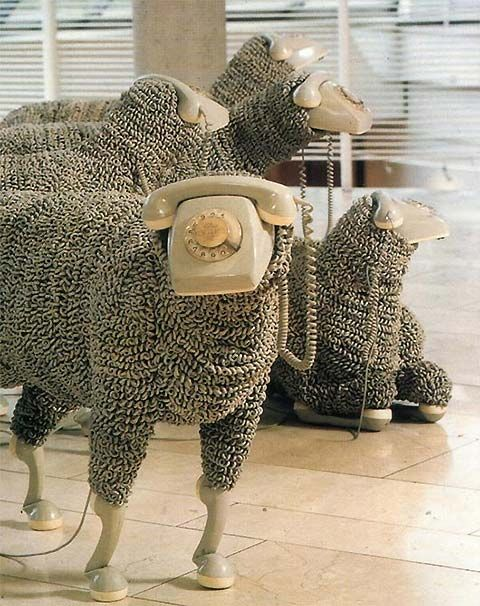 So cool. Totally always wanted to make something out of old rotary telephone heads and cords. #sheep #sculpture #rotarytelephone