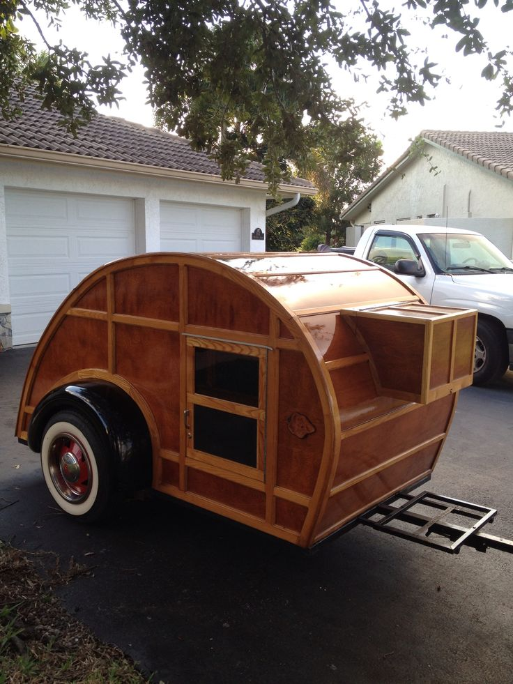 "Teardrop Trailer With Bathroom: ""Woodly"". Woody Teardrop Camper."