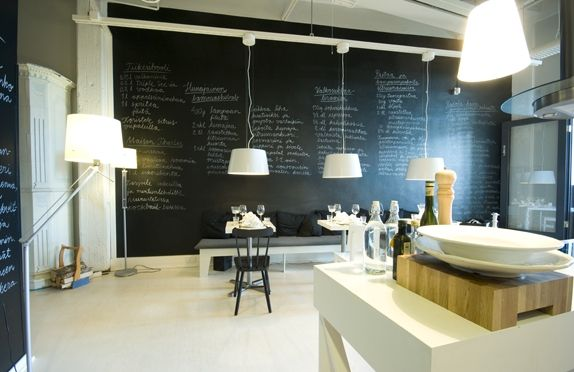 i love the blackboard behind the hanging light fixtures