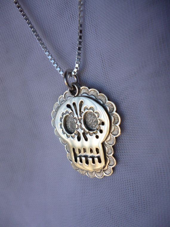 Day of the Dead Skull Pendent/Necklace in Sterling by leafashley, $45.00