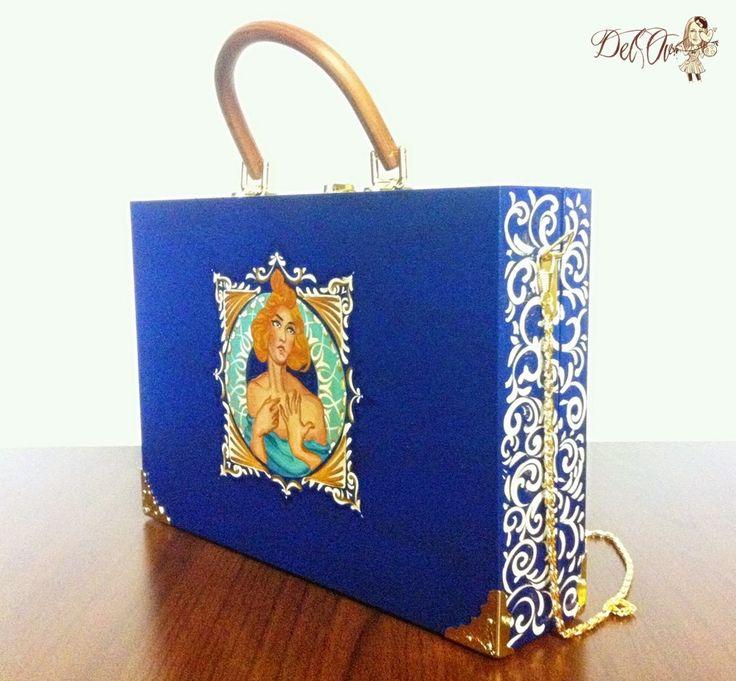 Wood bag, hand painted, art nouveau style