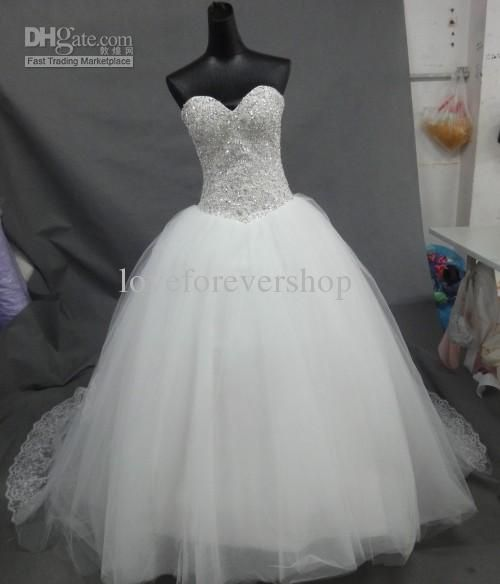 Wholesale Hot Selling 2013 Sparkling Sweetheart Corset Tulle Chapel Train Fluffy Bridal Gown Cathedral Ball Gown Wedding Dresses With Beaded Appliques, Free shipping, $200.0/Piece | DHgate Mobile