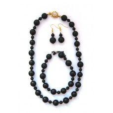 """Shungite costume jewellery set """"Roksolana"""" includes earing """"Roksolana"""", necklace """"Rocksolana"""" and armlet """"Roksolana"""""""