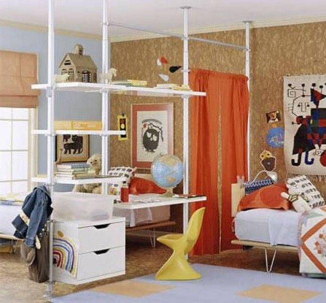 Bedroom, Dividing a Kids Room with Curtains : Orange Curtain Room Divider In Large Loft Style Bedroom