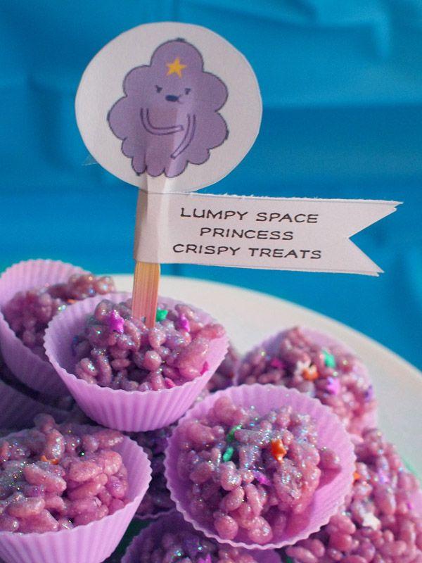 Our son's Adventure Time party! Lumpy Space Princess rice krispie treats #LSP #AdventureTime -- So. Genius.
