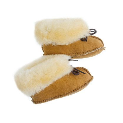 These are the CUTEST things ever! Christmas Baby needs these!  J.Crew - Minnetonka; baby tied shearling booties