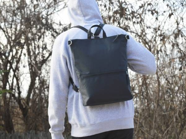 Dark Navy Blue Waxed Canvas Backpack