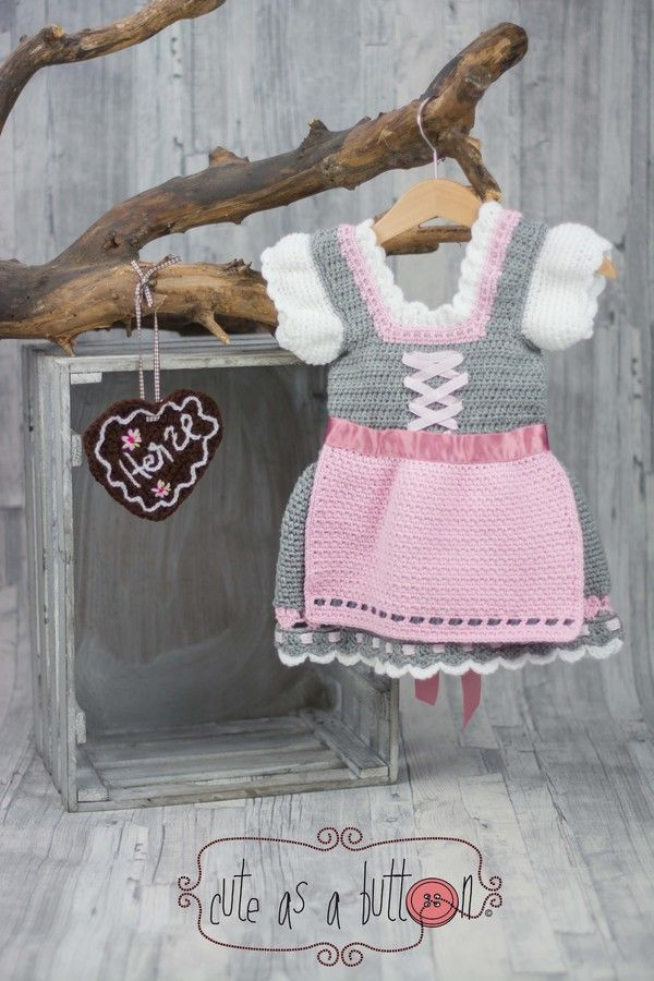 Häkelanleitung Dirndl - alle Größen https://www.crazypatterns.net/de/items/8246/cute-as-a-button-dirndl-haekelanleitung