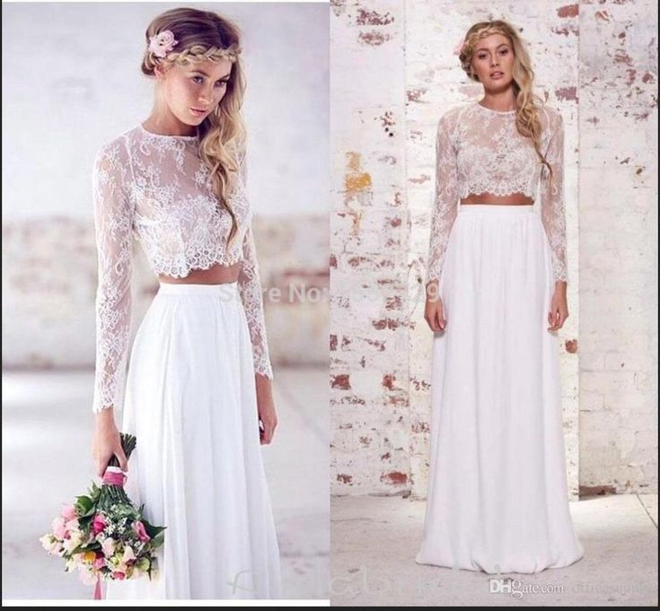 2017 Hot Sale Two Pieces Crop Top Bohemian Wedding Dresses Chiffon Ruched Floor Length Wedding Gowns Spring Lace Long Sleeve