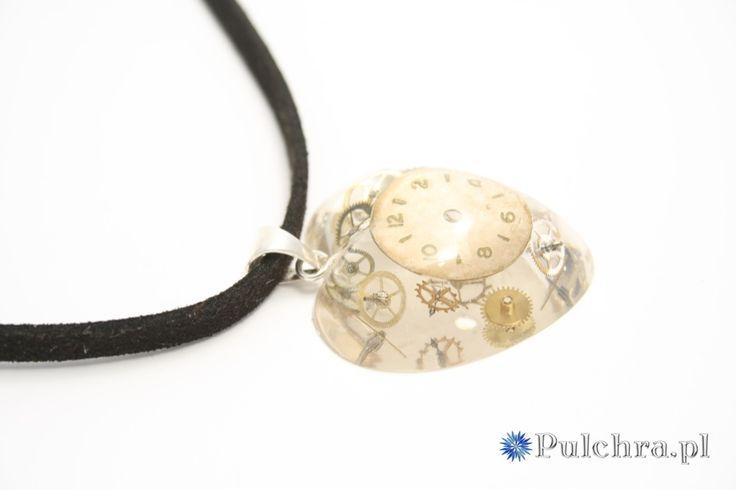 Naszyjnik serduszko w stylu steampunk z tarczą zegarową (srebro)