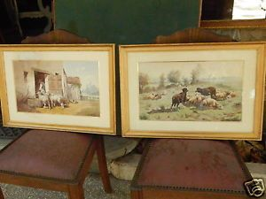 Coppia acquerelli - scene campestri - Francia - Bergeron - fine '800 in Arte e Antiquariato, Quadri, Olii | eBay