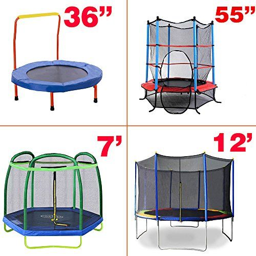 New Clevr Trampoline with Safety Enclosure Net, variable sizes  Trampoline safety net includes padded poles which delivers the highest level of safety; High-quality PE net surrounds the entire jumping area for maximum safety