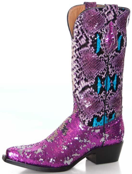 Ferrini Women's Diva Sequin Snake Print Cowboy Boots - Pink $153.30