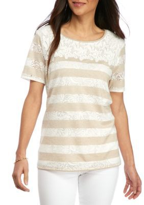 Alfred Dunner Tan Petite Ladies Who Lunch Lace Yoke Burnout Tee