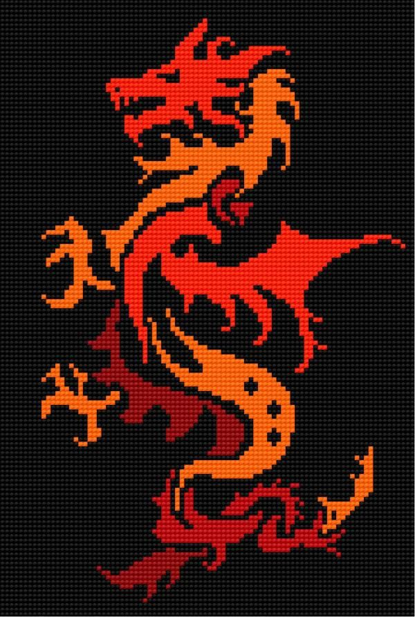 free cross stitch pattern - dragon