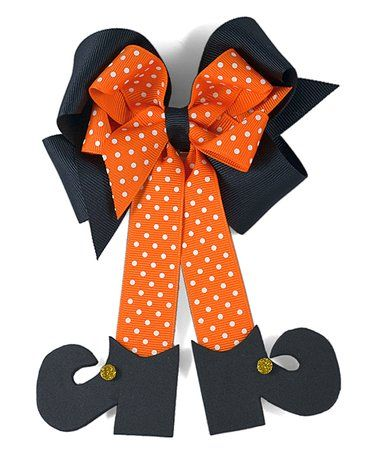 Orange Witch Legs Bow Clip