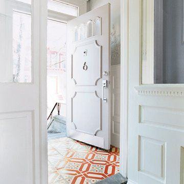 Funky tile in small space: Ideas, Entry Way, Interior, Floors, Front Doors, House, Design
